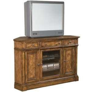 Corner Entertainment Center Urban Ash Burl Finish