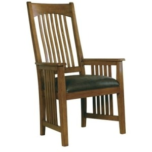 Arts & Crafts Arm Chair with Leather Seat