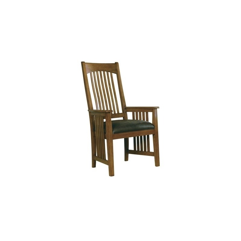 8-4003 Arts & Crafts Arm Chair with Leather Seat