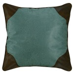 Calhoun Turquoise Faux Tooled Leather Euro Sham