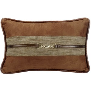 Highland Lodge Suede Lumbar Pillow w/Buckle Detail