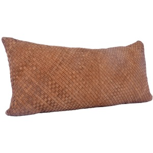 Suede Basket Weave Long Lumbar Pillow