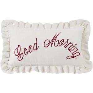 Good Morning Embroidered Lumbar Pillow w/Ruffles