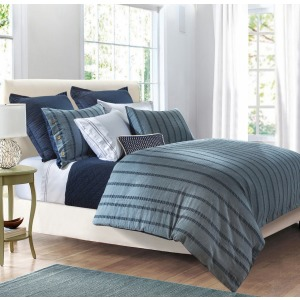 Harper 3PC Super King Stripe Duvet Cover Set, Blue