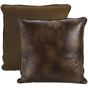 Brown Faux Sued / Leather Reversible Euro Sham