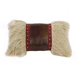 Ruidoso Mongolian Fur Accent Pillow - Studded Leather