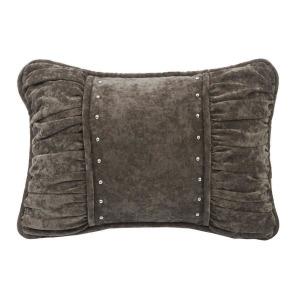 Silverado Shirred Fabric Lumbar Pillow - Gray Velvet