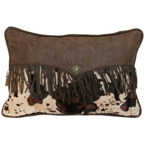 Caldwell Faux Cowhide Lumbar Pillow w/Fringe