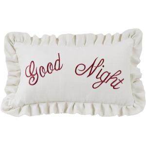 Good Night Embroidered Lumbar Pillow w/Ruffles