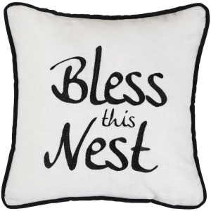 Bless This Nest Embroidery Throw Pillow