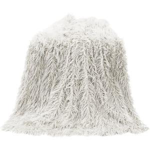 Mongolian Faux Fur Throw Blanket - White