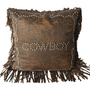 Cowboy Studded Decorative Throw Pillow - Faux Leather