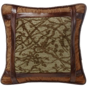Highland Lodge Framed Tree Pillow w/Faux Leather