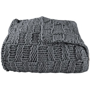 Hand Knitted Chess Throw - Slate
