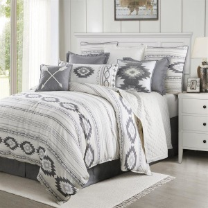 Free Spirit 4PC Queen Bedding Set - Gray/White