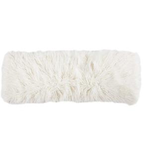 Mongolian Faux Fur Lumbar Pillow - Cream