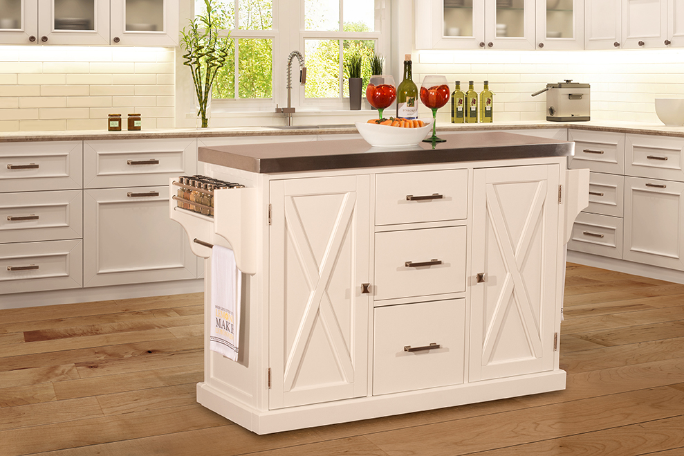 Brigham Kitchen Island In White With Stainless Steel Top By Hillsdale Furniture Nis754391124 Deets Furniture