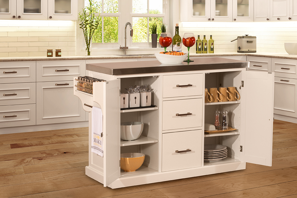 Brigham Kitchen Island In White With Stainless Steel Top By Hillsdale Furniture Nis677743737 Horton S Furniture Mattresses