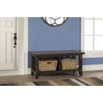 Tuscan Retreat Blanket Bench & Baskets - Weathered Gray