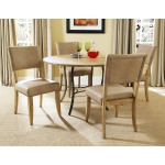 Charleston 5pc Round Dining with All Metal Table Base with Wood Top and Parson Chairs