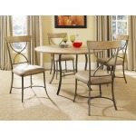 Charleston 5pc Round Dining with All Metal Table Base with Wood Top and X Back Chairs