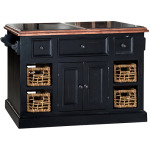 Tuscan Retreat Large Granite Top Kitchen Island with Baskets - Black with Antique Pine Top