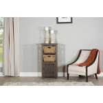 Tuscan Retreat Basket Stand with X Door with Two Baskets - Mocha