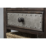 Tuscan Retreat Basket Stand with Metal Front Drawer and Three Baskets - Smoke