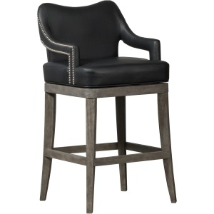 Theron Hill Wood Return Swivel Bar Height Stool, Brushed Charcoal