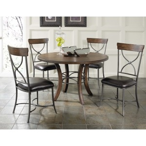 Cameron 5pc Round Wood Dining Set with X Back Chairs