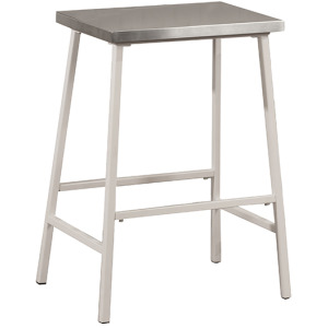 Kennon Non Swivel Stool - Silver/White