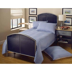 Universal Mesh Twin Bed Silver and Navy