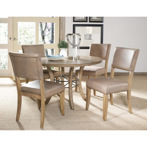 Charleston 5pc Round Dining with Parson Chairs All wood table with metal ring