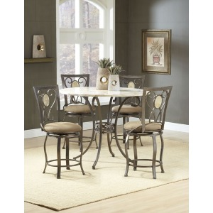 Brookside 5pc Counter Height Set w/ Oval Stools