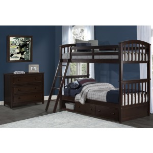 Sidney Twin Over Full Bunk w. Storage - Chocolate