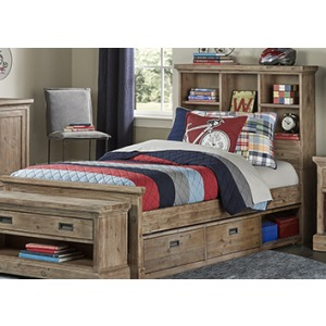 Oxford Twin Bookcase Bed w/Storage