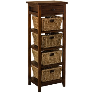 Tuscan Retreat 4 Basket Stand - Antique Pine