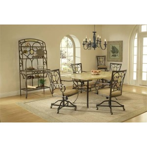Brookside 5pc Rectangle Set w/ Oval Caster Chairs