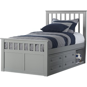 Schoolhouse 4.0 Marley Captains Twin Bed - Gray