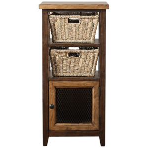 Tuscan Retreat Basket Stand with Wire Front and Two Baskets - Case Sua Two Tone Wood Finish / F