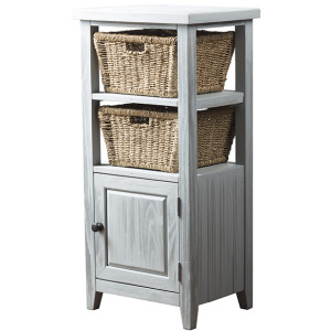 Tuscan Retreat Basket Stand with Wood Plank Door Shelf with Two Baskets - Powder Blue Wood Fini