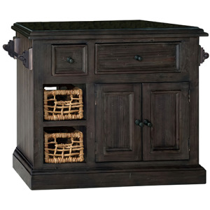 Tuscan Retreat Medium Granite Top Kitchen Island with 2 Baskets - Weathered Gray with Antique P