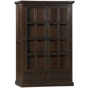 Tuscan Retreat Double Door Cabinet (Glass Front and Two Drawers) - Rustic Mahogany