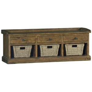 Tuscan Retreat Bench with 3 Drawers - Old World Pine