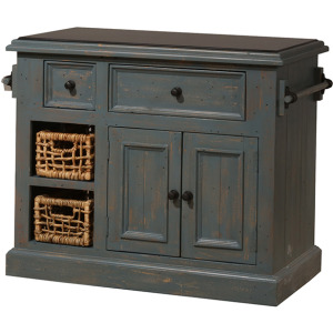 Tuscan Retreat Medium Granite Top Kitchen Island with 2 Baskets - Nordic Blue with Antique Pine