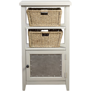 Tuscan Retreat Basket Stand with Metal Front and Two Baskets - Taupe