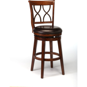 Reydon Swivel Bar Stool - Brown Cherry