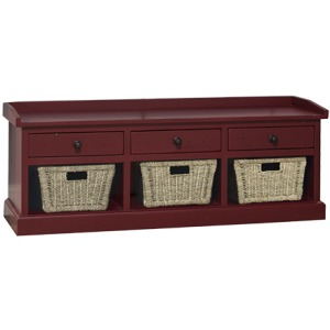 Tuscan Retreat Bench w /3 Drawers - Antique Red