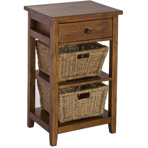 Tuscan Retreat 2 Basket Stand - Antique Pine