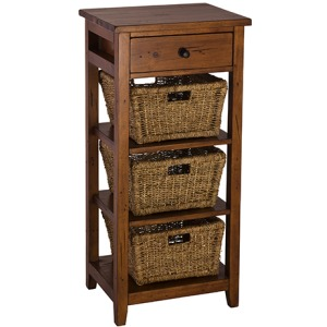 Tuscan Retreat 3 Basket Stand - Antique Pine
